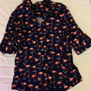 Dark Blue Flamingo Shirt NY&Co Medium